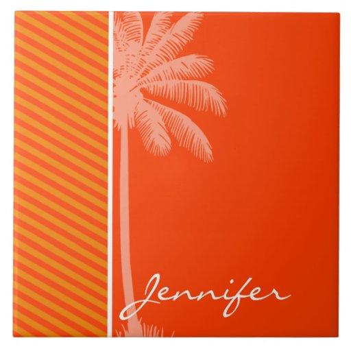 Palma tropical; Rayas anaranjadas Azulejo Cerámica