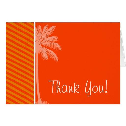 Palma tropical; Rayas anaranjadas Felicitación