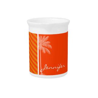 Palma tropical Rayas anaranjadas Jarrones