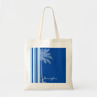Palma tropical; Rayas azules y blancas Bolsa Tela Barata
