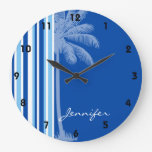 Palma tropical; Rayas azules y blancas Reloj
