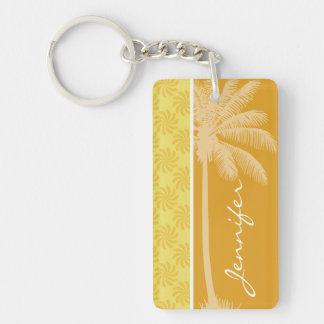 Palma tropical; Remolino amarillo-naranja Llavero Rectangular Acrílico A Doble Cara