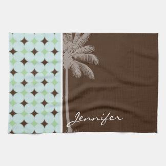 Palma tropical; Verde salvia y Brown Toallas