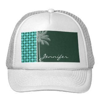 Palma tropical; Verde y lunar de la turquesa Gorras De Camionero