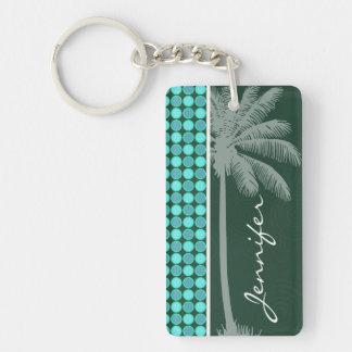 Palma tropical; Verde y lunar de la turquesa Llaveros