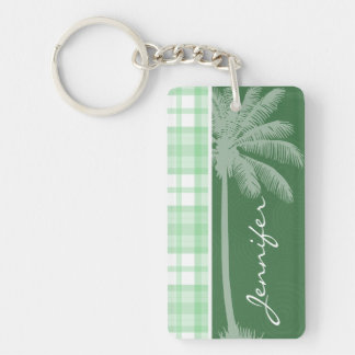 Palma tropical y tela escocesa verde clara llavero