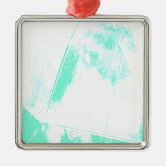 Palma verde de la playa adorno navideño cuadrado de metal
