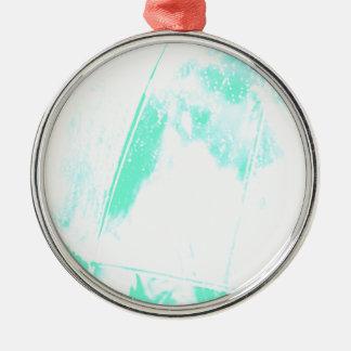 Palma verde de la playa adorno navideño redondo de metal