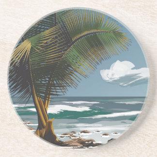 Palma y playa posavasos para bebidas