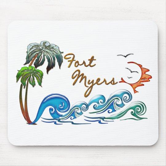 palmas 3d, ondas y puesta del sol FUERTE MYERS Mouse Pad