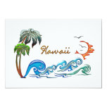 palmas 3d, ondas y puesta del sol HAWAII Invitación 12,7 X 17,8 Cm