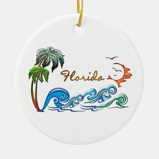 palmas 3d, ondas y puesta del sol la FLORIDA Adorno Redondo De Cerámica
