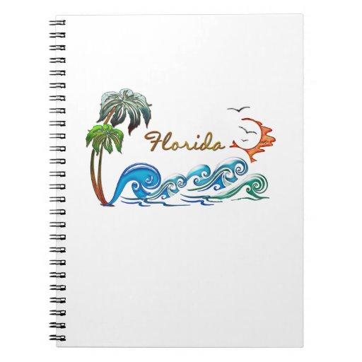 palmas 3d, ondas y puesta del sol la FLORIDA Libros De Apuntes Con Espiral