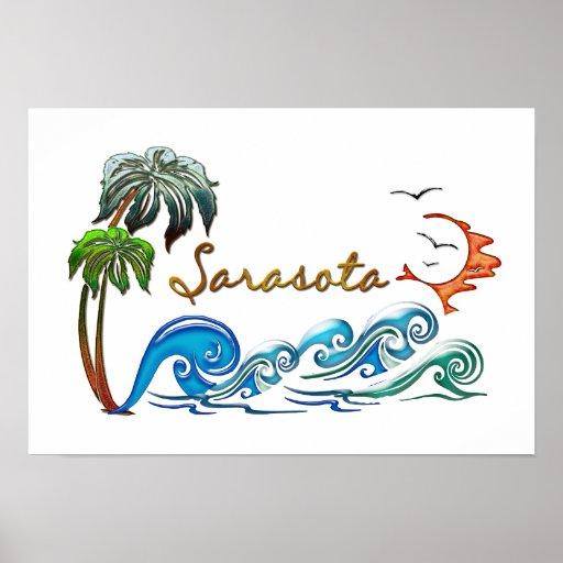 palmas 3d, ondas y puesta del sol SARASOTA Poster