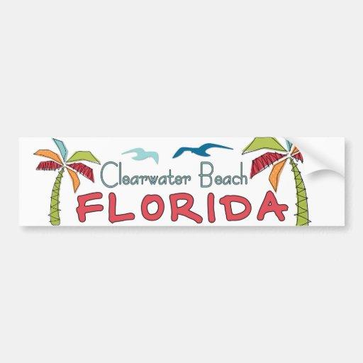 Palmas artsy de la Florida de la playa de Clearwat Pegatina De Parachoque