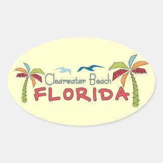 Palmas artsy de la Florida de la playa de Pegatina Ovalada