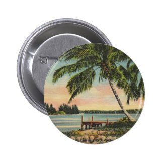 Palmas de coco del vintage pin redondo de 2 pulgadas