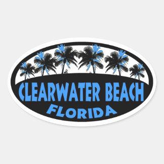 Palmas de la Florida de la playa de Clearwater Pegatina Ovalada