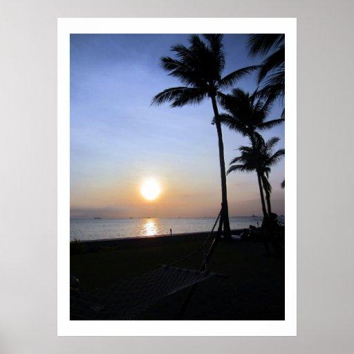 palmas de la puesta del sol poster