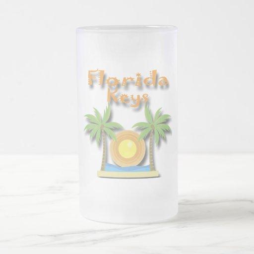 Palmas de llaves de la Florida anaranjadas Taza De Cristal