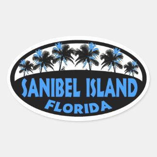 Palmas del azul de la Florida de la isla de Pegatina Ovalada