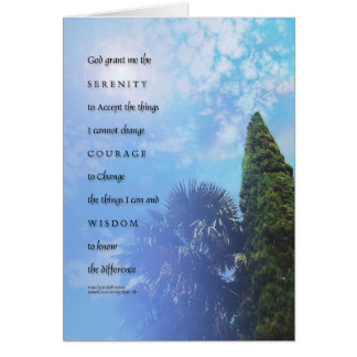 Palmas del rezo de la serenidad y tarjeta del eneb