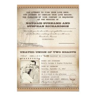 palmas del vintage que casan invitaciones del invitación 12,7 x 17,8 cm