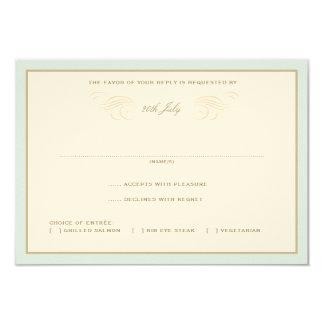 Palmas del vintage que casan RSVP azul y Invitación 8,9 X 12,7 Cm