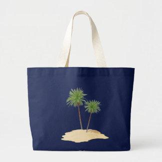 Palmas en el bolso de la isla bolsa tela grande