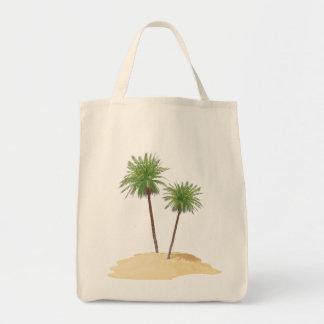 Palmas en el bolso de la isla bolsa tela para la compra