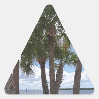 Palmas en la playa calcomanías de trianguladas