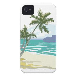 Palmas, océano y montañas iPhone 4 carcasa