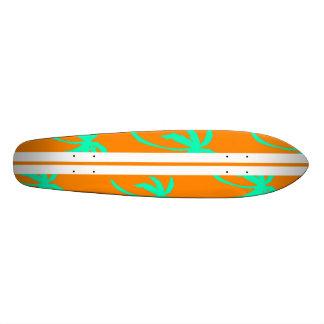 Palmas retras - naranja y turquesa tabla de patinar