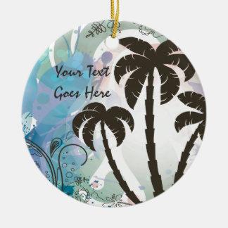Palmas tropicales adorno redondo de cerámica