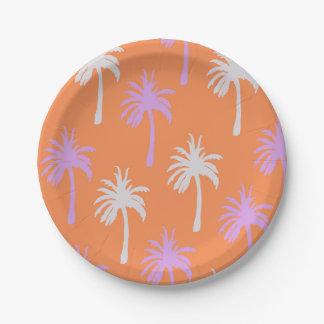 Palmas tropicales en el naranja brillante platos de papel