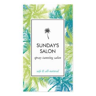 Palmas verdes tropicales del salón de bronceado tarjetas de visita