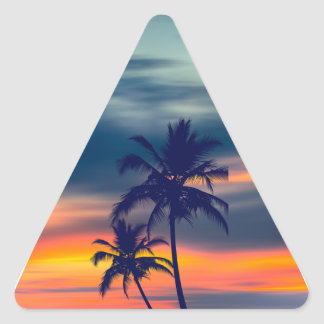 Palmas y triángulo de la puesta del sol pegatina triangulo personalizadas