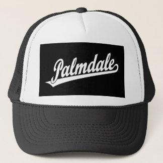 Palmdale script logo in white trucker hat