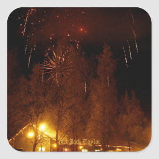 Palmer, Ak Railroad Depot with Fireworks #01 Square Sticker