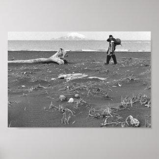 Palmer Sekora and Linda Sekora on Bering Sea Beach Poster
