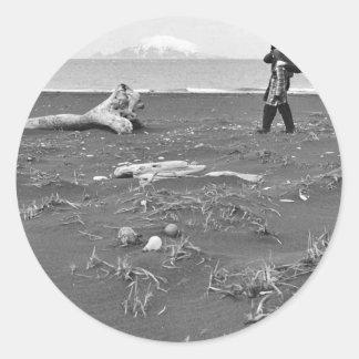 Palmer Sekora and Linda Sekora on Bering Sea Beach Stickers