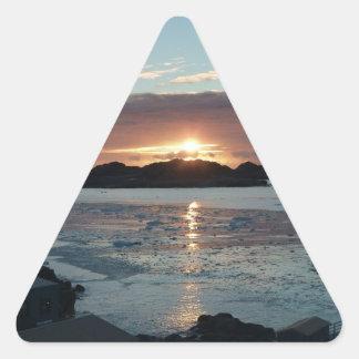 Palmer view sunset triangle sticker