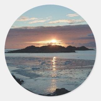 Palmer view sunset classic round sticker