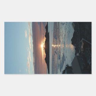 Palmer view sunset rectangular sticker