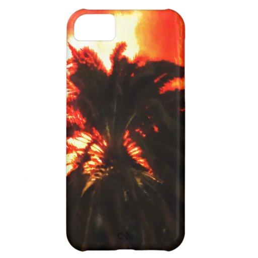 Palmera ardiente tropical de la erupción del volcá funda para iPhone 5C