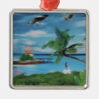 Palmera beach.jpg del coco adorno cuadrado plateado