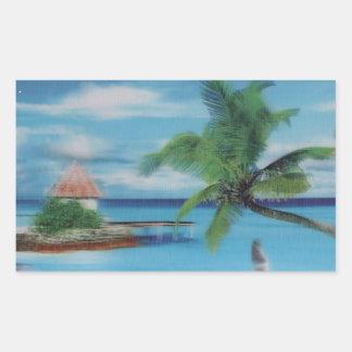 Palmera beach.jpg del coco pegatina rectangular
