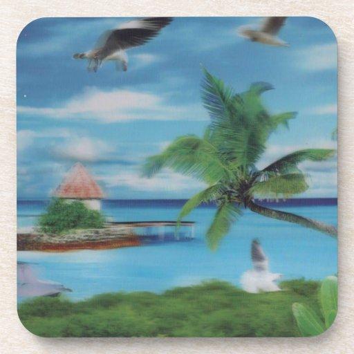 Palmera beach.jpg del coco posavasos de bebida