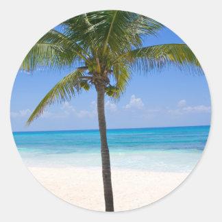 Palmera de Bahamas Pegatina Redonda