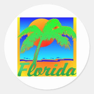 Palmera de la puesta del sol de la Florida Pegatina Redonda